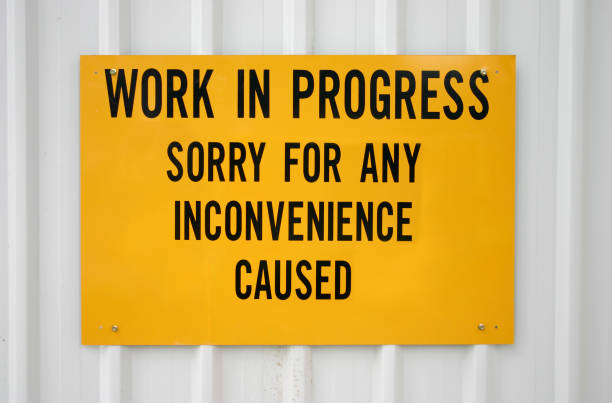 Work in Progress Signage inconvenience stock pictures, royalty-free photos & images