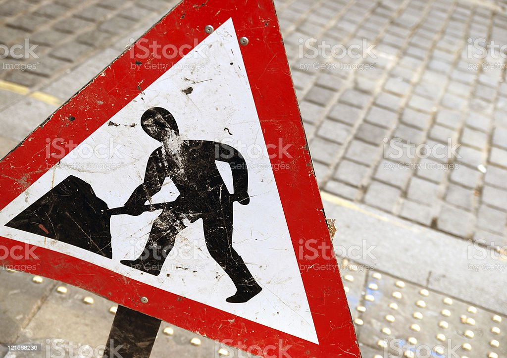 Work in progress sign with copy space royalty-free stock photo