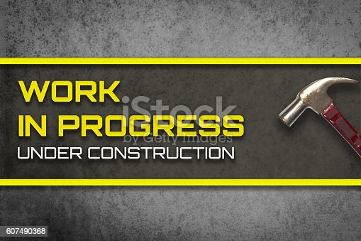 istock Work in progress under construction web page banner 607490368