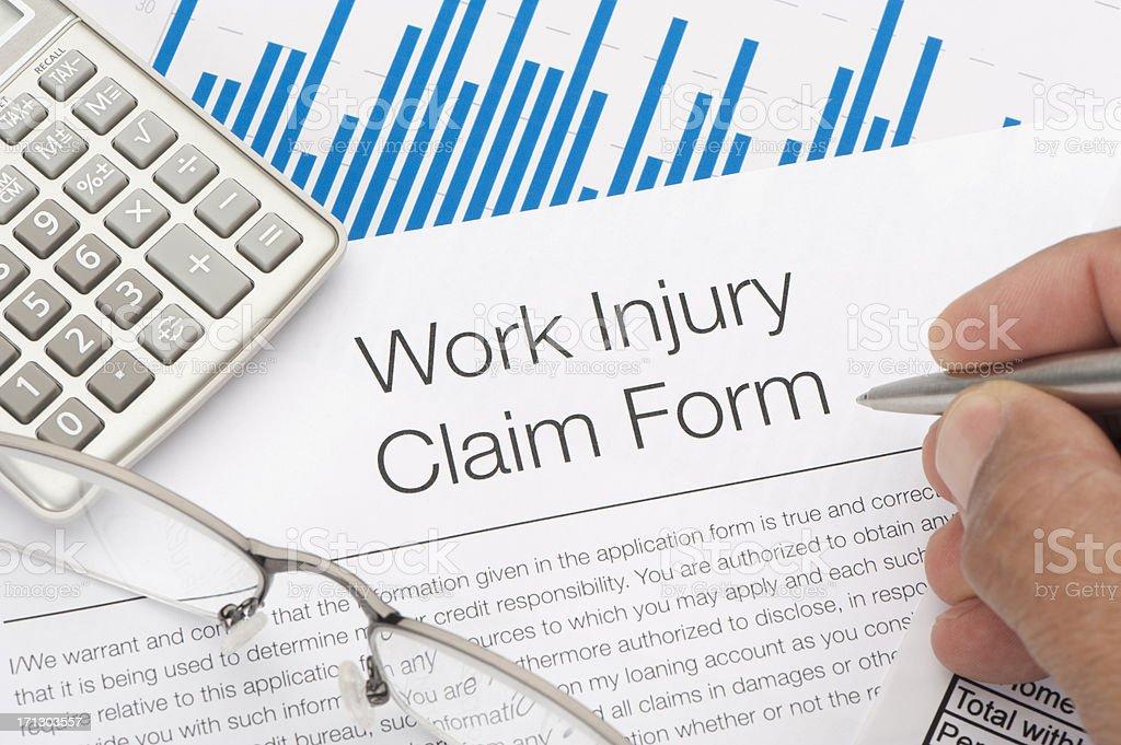 Work injury claim form royalty-free stock photo
