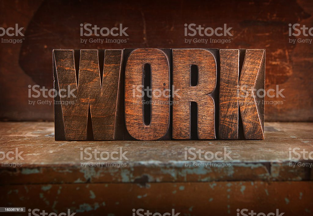 Work - Letterpress letters royalty-free stock photo