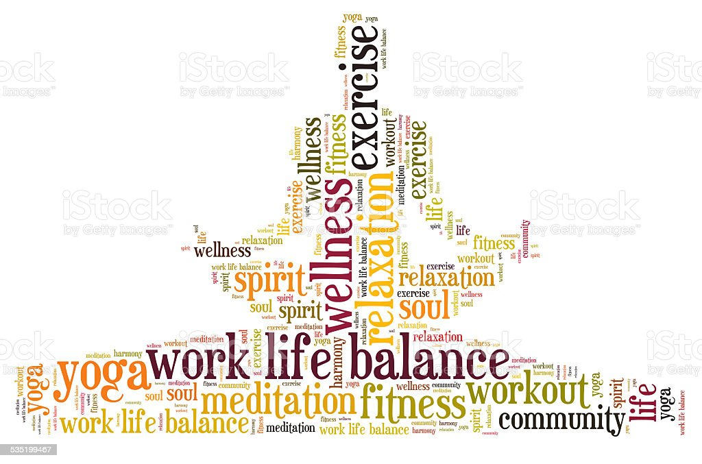 work life balance and wellbeing stock photo