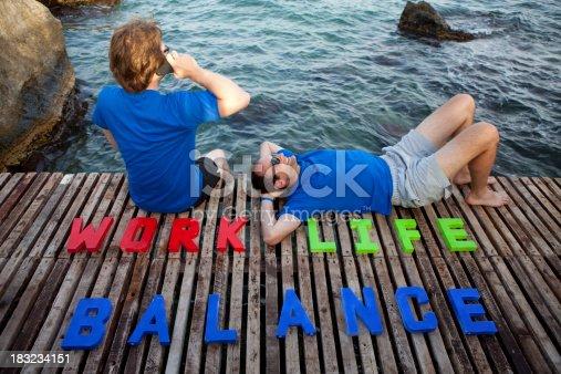 istock Work life balance at the beach 183234151
