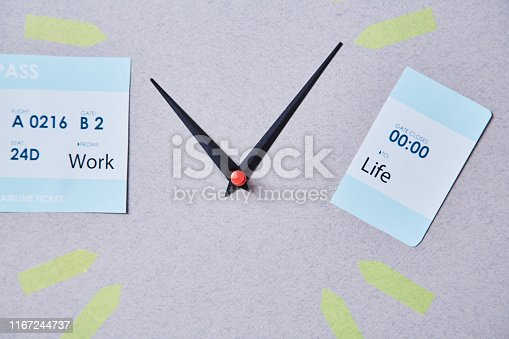 1175869940istockphoto Work life balance choice concept. Clock arrows between parts of boarding pass with inscriptions 1167244737