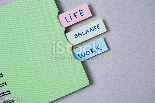 1175869940istockphoto Work life balance choice concept. Stickers with inscriptions in a notebook. 1167244718