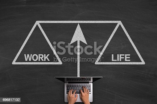 istock Work Life Balance Concept With Laptop On Blackboard 696817132