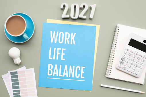 2021 work life balance concepts with text on desk.business motivation.quality of management