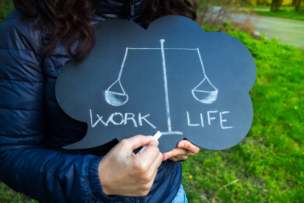Work life balance dilemma concept with written words stock photo