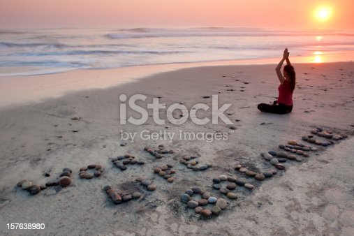 istock Work Life Balance in a Yoga pose 157638980
