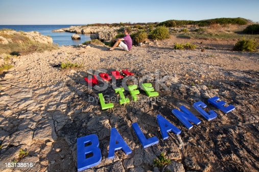 istock Work Life Balance on the rocks 183138616