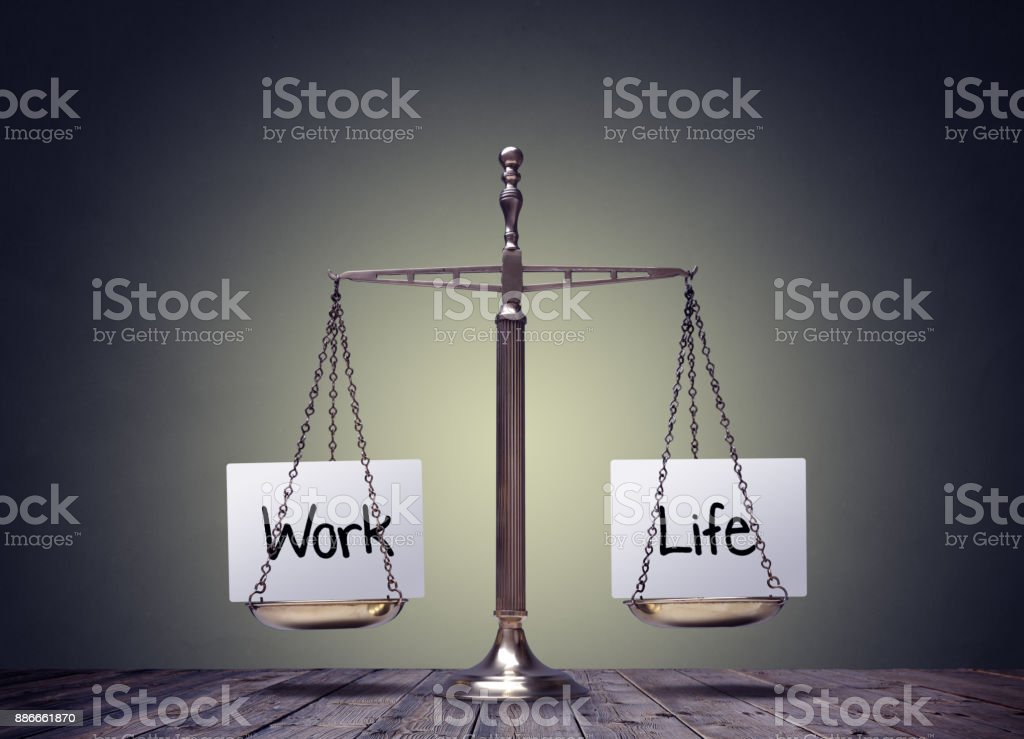Work life balance scales stock photo