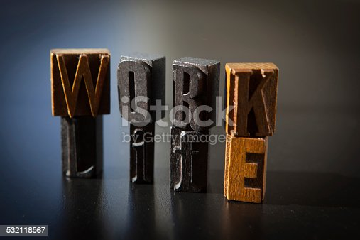 182362845 istock photo Work Life balance spelled out in old letterpress letters 532118567