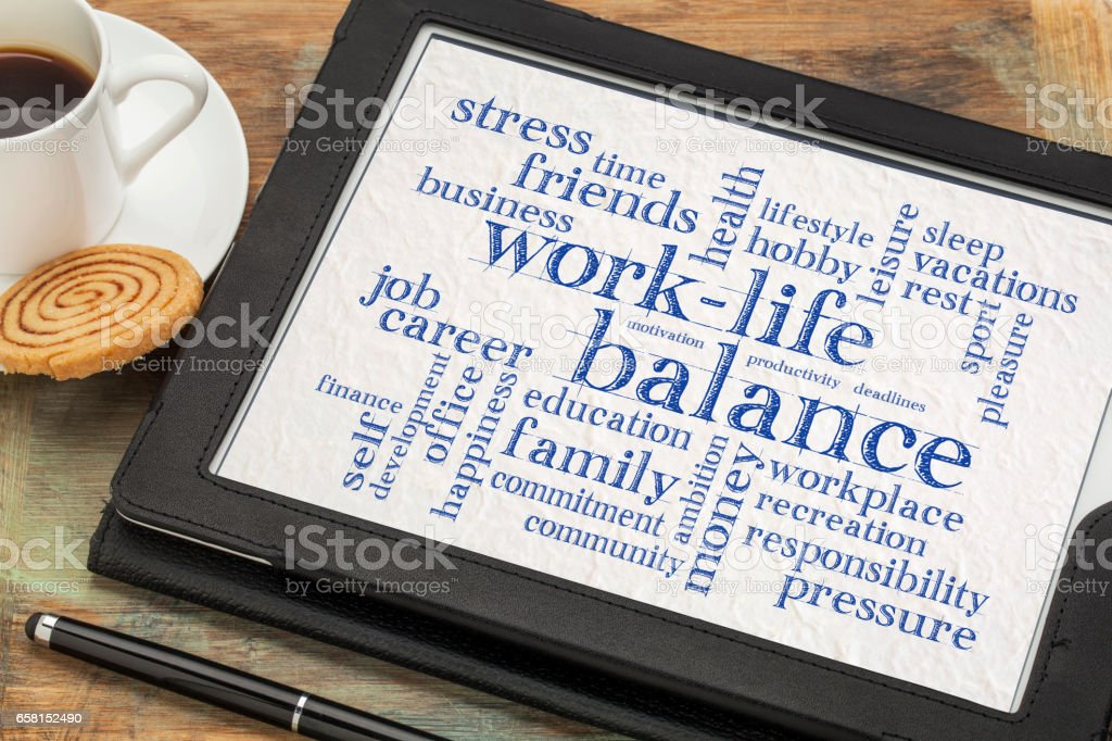 work life balance word cloud on tablet stock photo