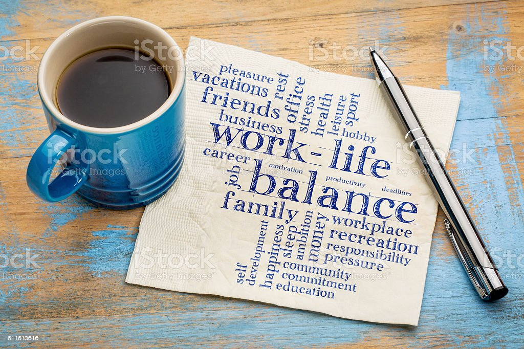 work life balance word cloud bildbanksfoto
