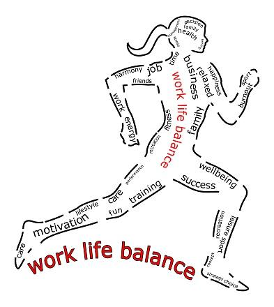 work life balance wordcloud on white background- illustration
