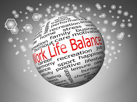 decorative silver work life balance wordcloud
