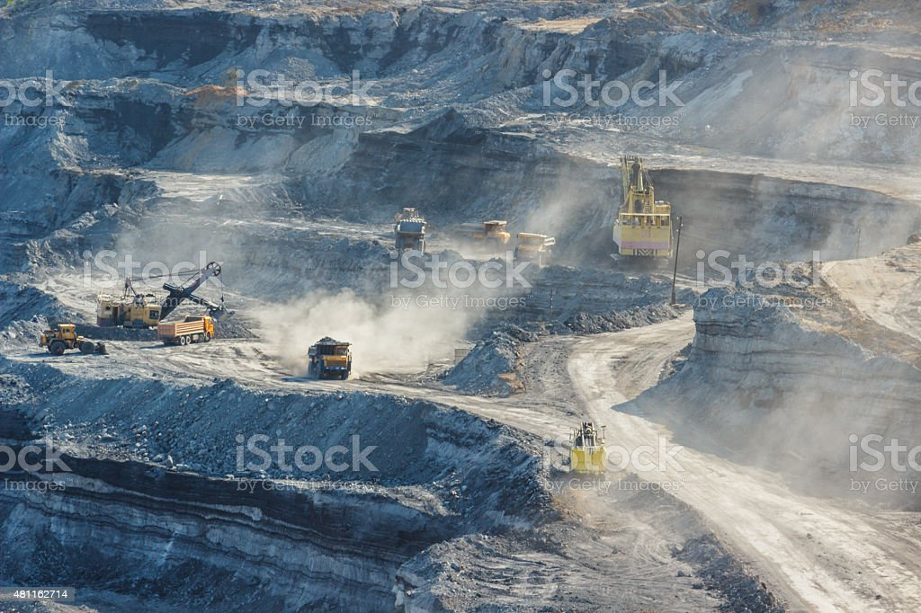 Work machinery in quarry for the extraction of coal stock photo