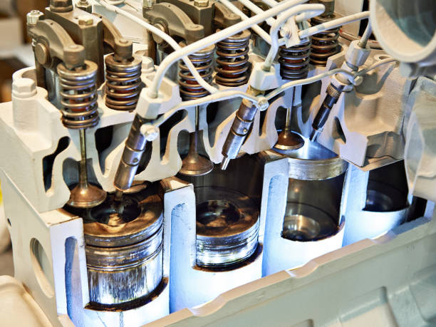 Work mechanism of diesel engine in section stock photo