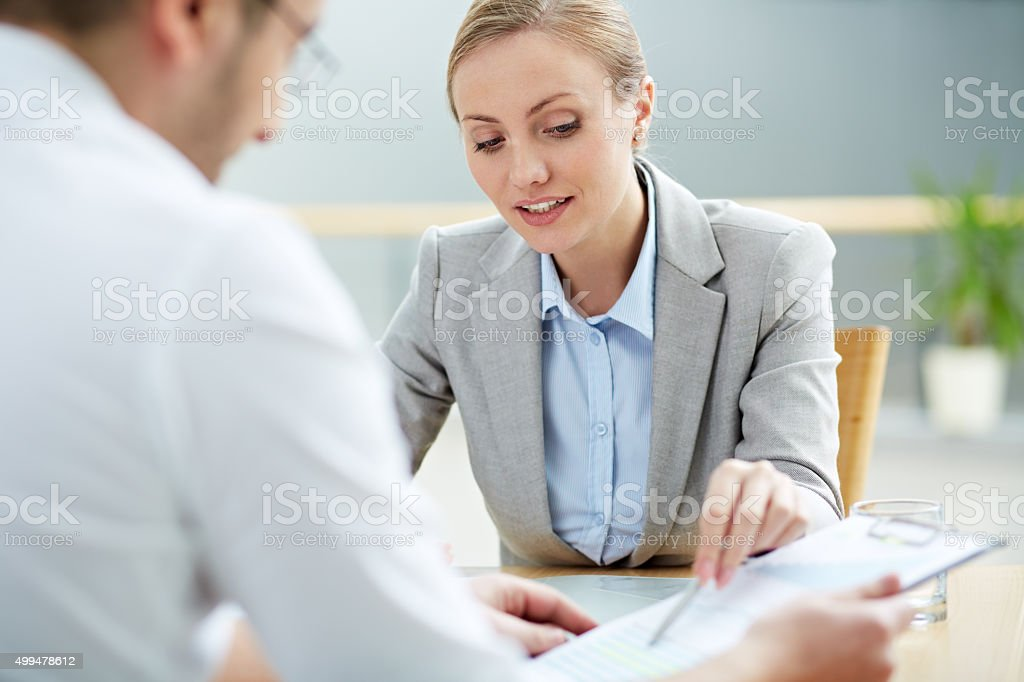 Work of female consultant stock photo