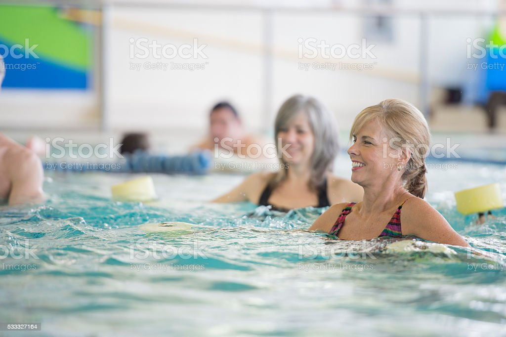 Work Out in the Public Pool stock photo