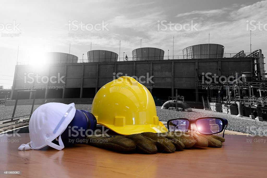 work outdoor wear safety equipment  at utility construction site . stock photo