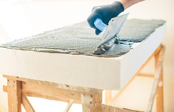 work over foam plastic stock photo