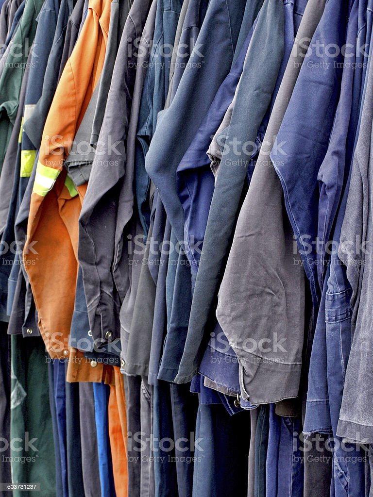 Work overalls in a row stock photo