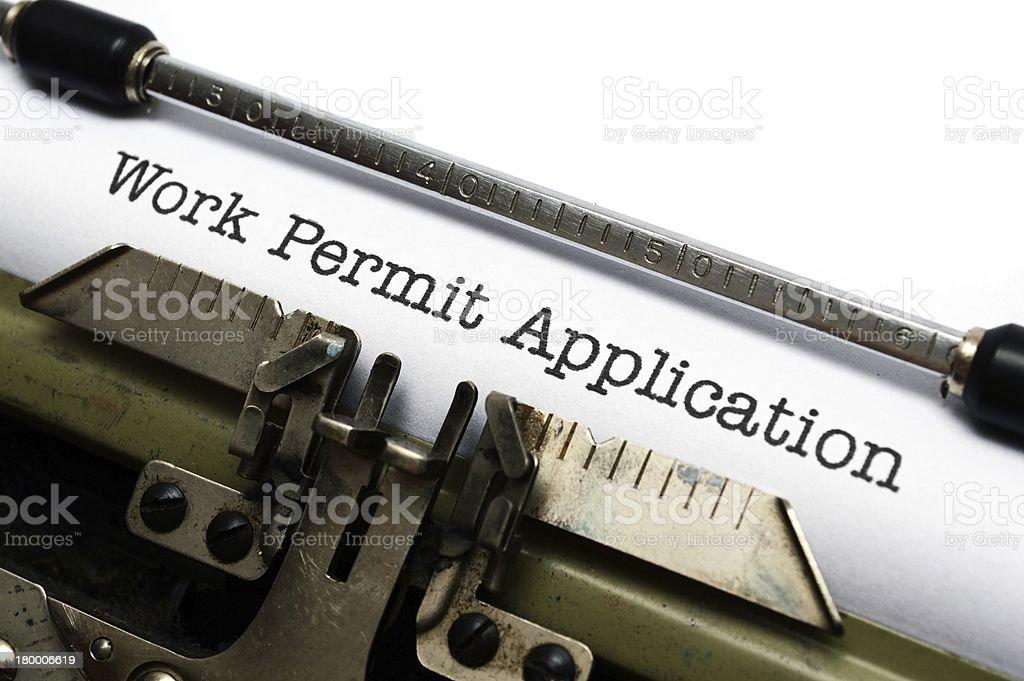 Work permit application royalty-free stock photo