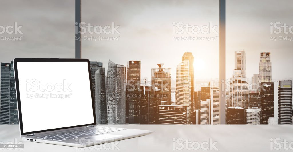 Work place with panoramic view stock photo