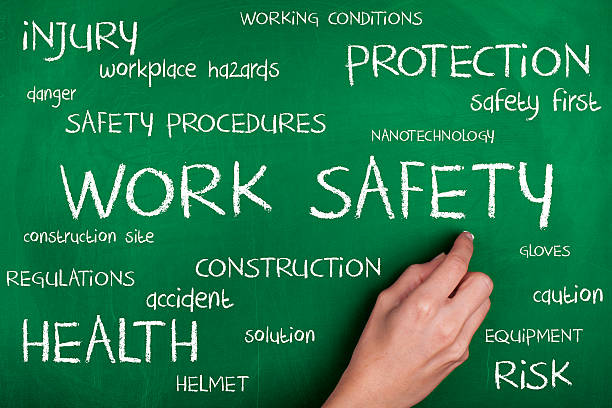 work safety word cloud - arbeidsveiligheid stockfoto's en -beelden