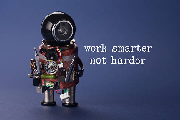 Work smarter not harder concept. Abstract electronic worker with screwdrivers stock photo