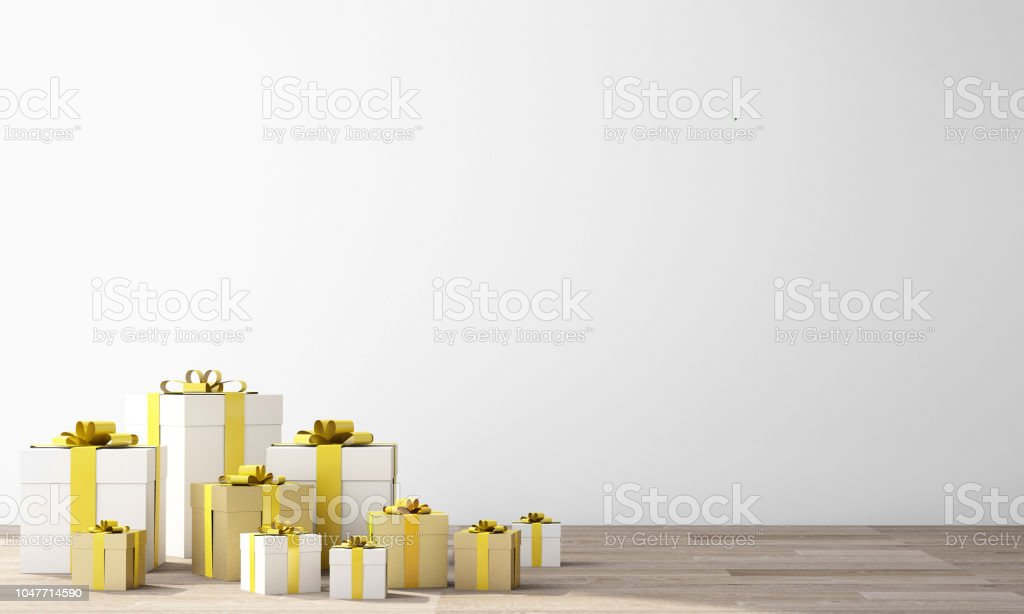 work space decoration with gift box, present box for Birthday background or sale label on white black background ,3d illustration,3d rendering stock photo