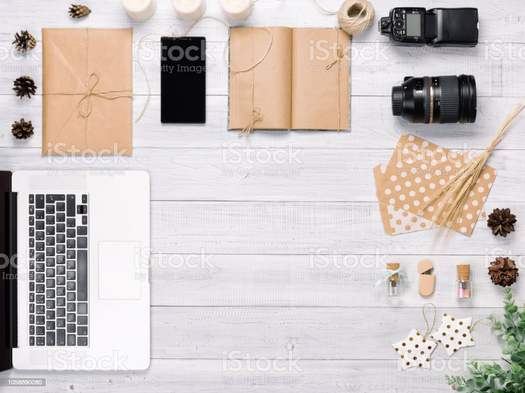 Work Space For Photographer Office Table Desk Stock Photo - Download Image  Now