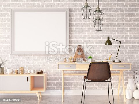 istock Work Space Furniture with Empty Frame 1049285588