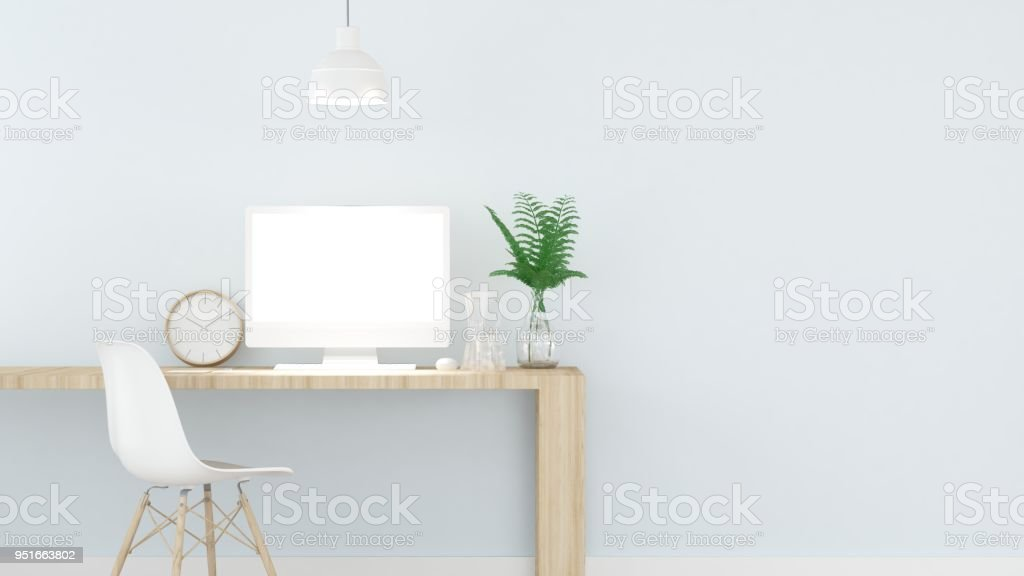 Work space interior wall pastel color - 3d rendering minimal japanese