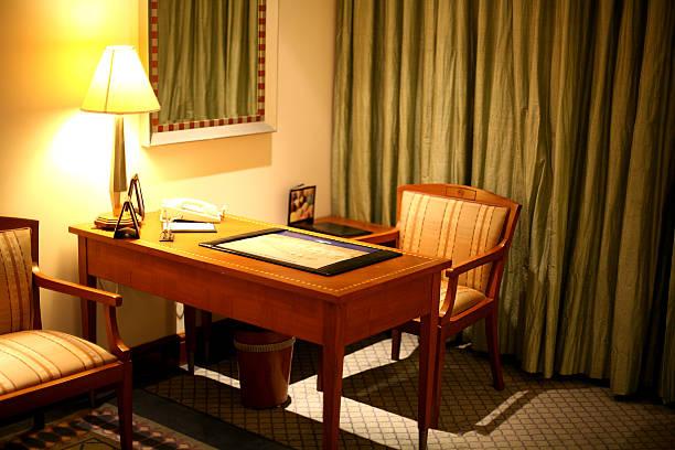 Work table in a five stars hotel Work table in a five stars hotel blotter stock pictures, royalty-free photos & images