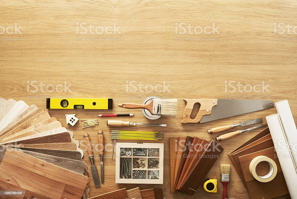 DIY work table stock photo