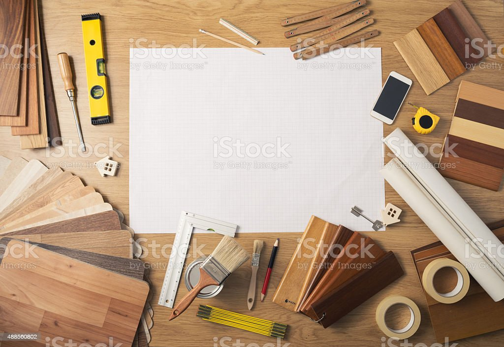 DIY work table with copy space stock photo
