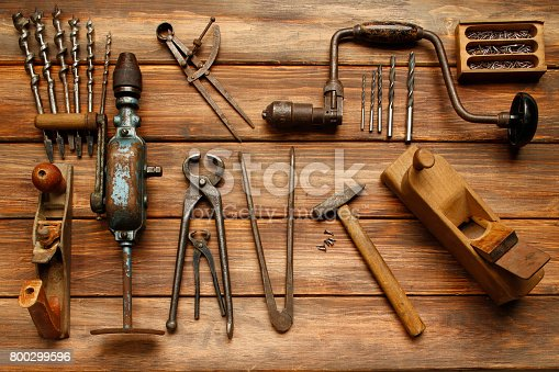 Work Tool  DIY  Vintage carpenter tools on rustic wooden table, Hand Tool
