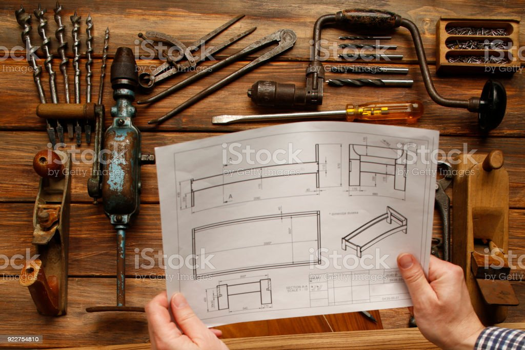 Work Tool  DIY  Vintage carpenter tools on rustic wooden table, Hand Tool stock photo