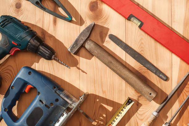 arbeitsgerät. instrument. flach zu legen. - diy ordner stock-fotos und bilder