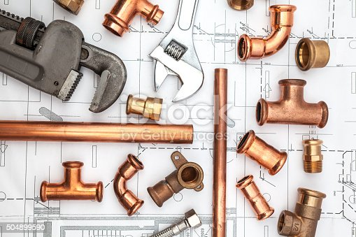 on a plan of a house there is work tools and work equipment