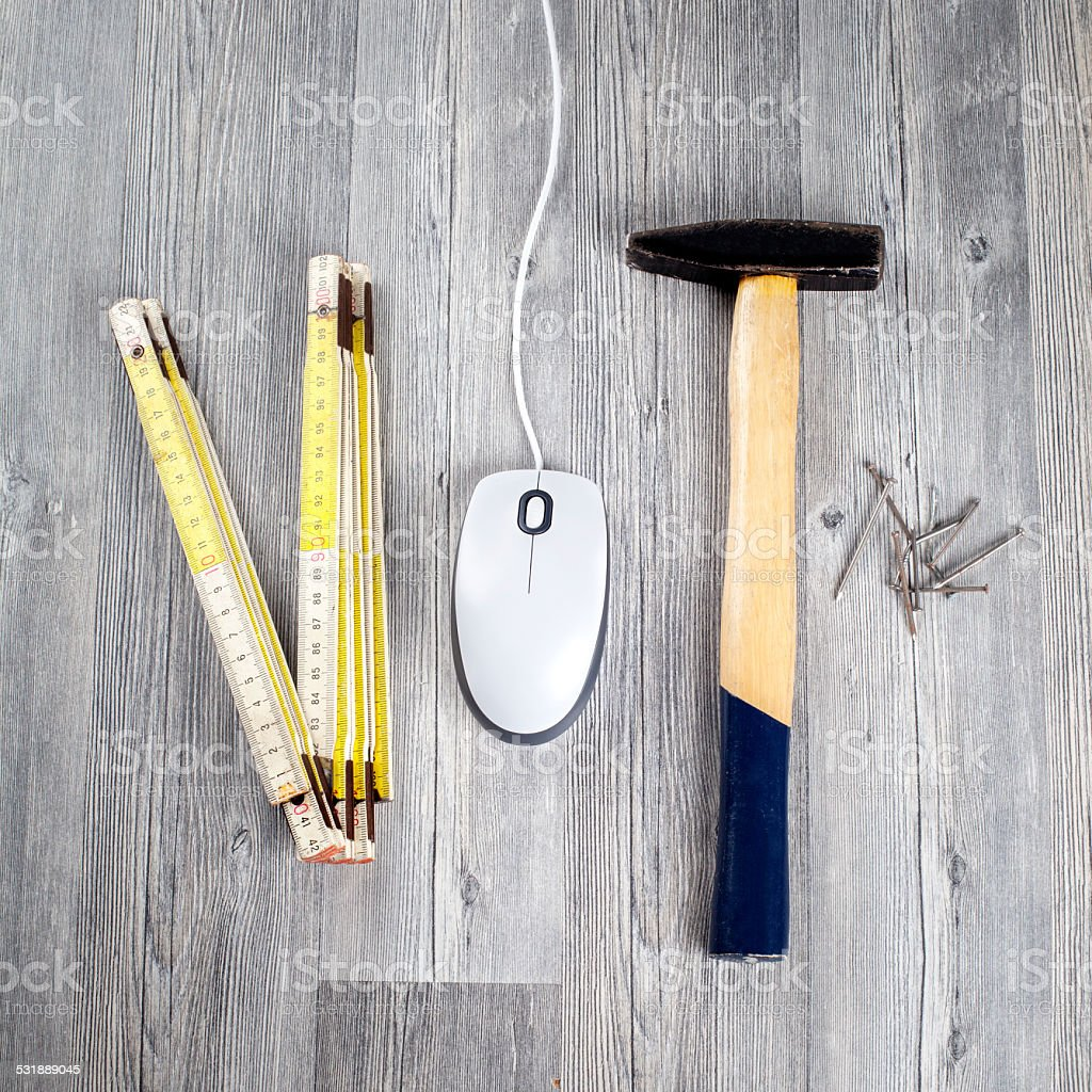 Work tools and computer mouse stock photo