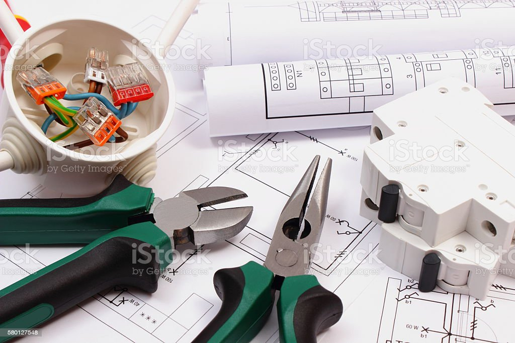 Work tools, electrical box and fuse, electrical construction drawing stock photo