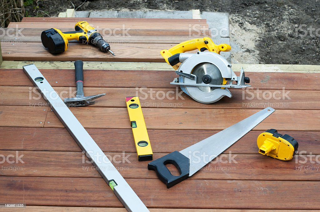Work tools for a carpenter stock photo
