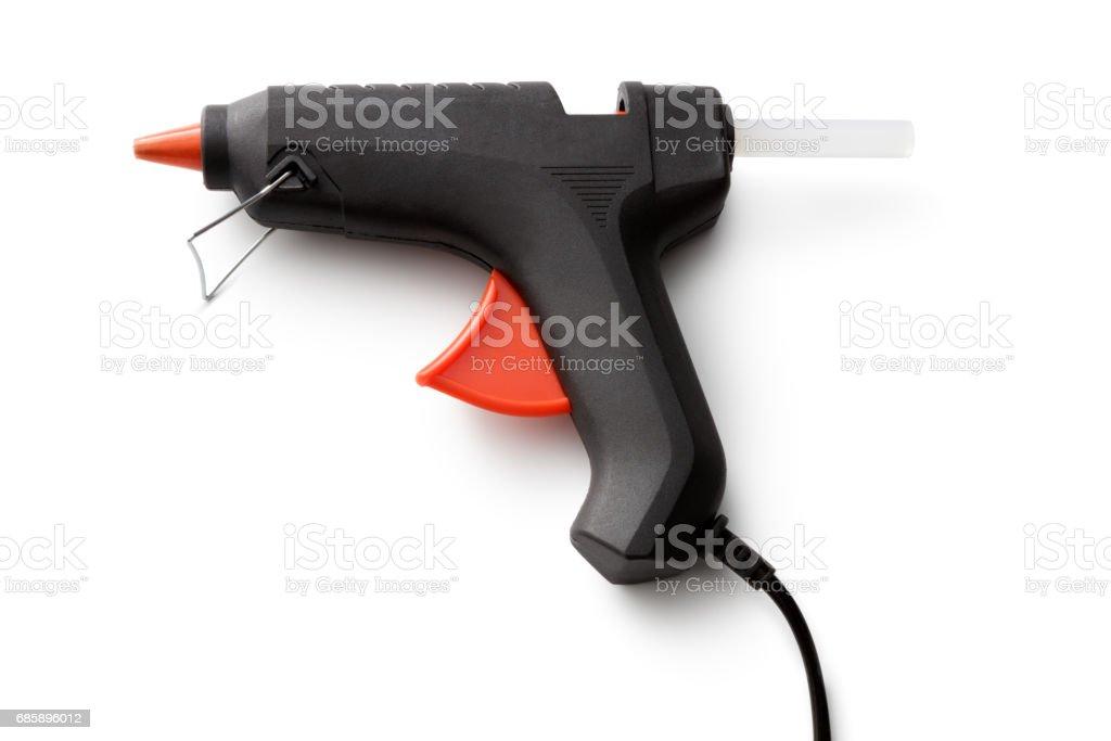 Work Tools: Glue Gun Isolated on White Background stock photo