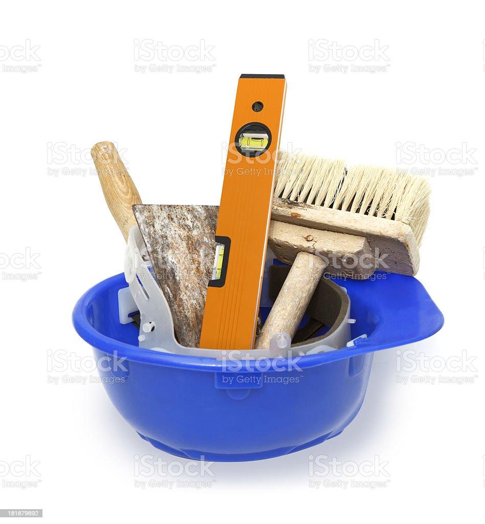 Work tools in blue helmet stock photo