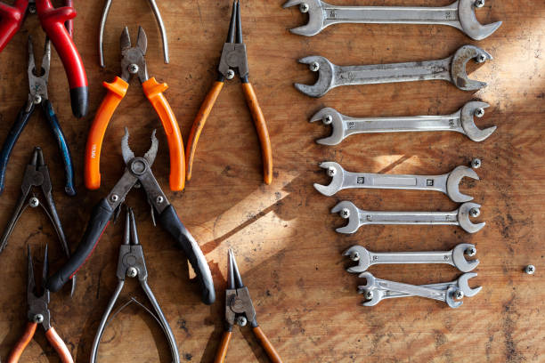 Work tools in workshop stock photo