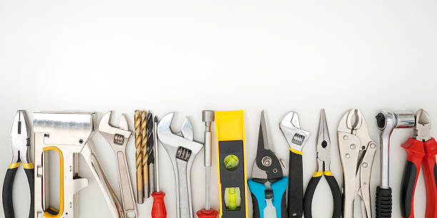 Work tools lined up on a white background Work Tools frame on wood bakcground work tool stock pictures, royalty-free photos & images