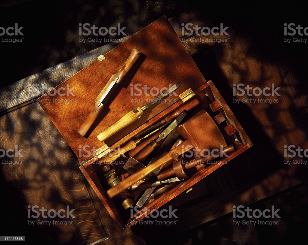 Work tools on a wooden table royalty-free stock photo